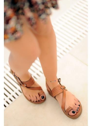 Pembe Potin A311-20 Kadın Sandalet A311-20 Taba